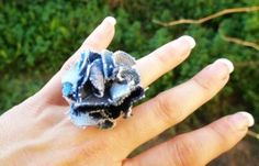 denim jean fabric flower ring handmade recycled denim  jean made in greece-f44861