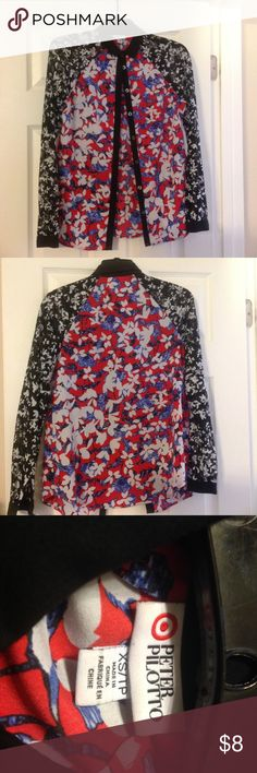 Peter Pilotto button down shirt Peter Pilotto lace sleeve button down shirt.  Great color combinations that is on trend.  It has black lace sleeves with a polyester body of red, blue and white.  It is the Peter Pilotto for Target designer fashion series. Peter Pilotto for Target Tops Button Down Shirts