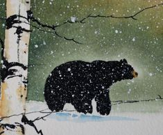 This is an oak water color painting of a black bear in the winter wilderness. I have recently made a variety of the original paintings available here Watercolor Water, Watercolor Trees, Watercolor Paintings, Bear Watercolor, Art And Illustration, Illustrations, Bear Paintings, Original Paintings, Wildlife Paintings