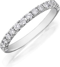 Platinum diamond band with 15 round diamonds pave set on top half of ring.  Approximately 2mm wide, size 6.