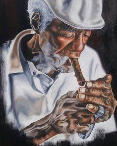 Old smoking man oil painting done by Katanu Kay. #oldisgold