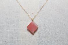 Polished Rose Quartz cube pendant on 18 inch, 14k gold filled chain