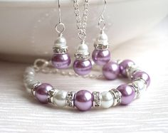 Lavender Pearl Necklace Purple Set of Necklace by LaurinWedding