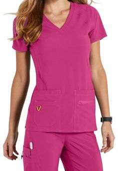 Med Couture Activate Refined V-neck Scrub Tops Beautiful Nurse, Scrub Tops, Fashion Colours, V Neck Tops, Work Wear, Neckline, Rompers, Couture, Knitting