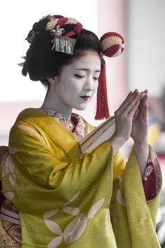 Maiko Katsuna, from the Kamishichiken district in Kyoto  Japan