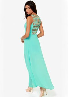 Light Green Patchwork Hollow-out Sleeveless Polyester Dress
