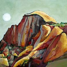 Morning Moon Dome by Penny Otwell Acrylic ~ x Painting Inspiration, Art Inspo, Yosemite California, Australian Art, Art World, Watercolor Art, Eye Candy, Abstract Art, Drawings
