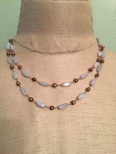 "Banana Republic Double Strand Blue Stone and Faux Copper Pearl Necklace 15"" #BananaRepublic"