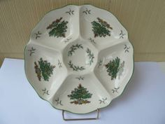 Spode Christmas Tree Divided Relish Plate Dish Excellent