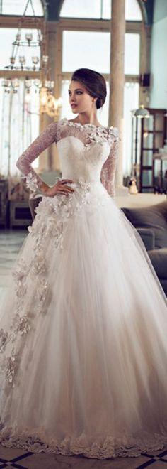 Fabulous Lace & Tulle Bateau Neckline A-line Wedding Dresses with 3D Flowers
