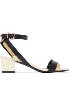 Lanvin - Metallic-trimmed Leather Sandals - Black - IT40.5