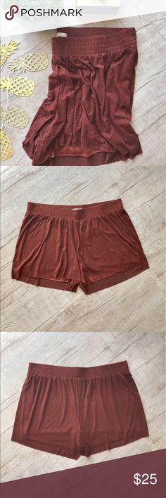 """Lauren Conrad Faux Suede Laser Cut Short - Rust * adorable rust colored short * laser cut detail * ruched waistband  * relaxed/flowy fit * fully lined * WAIST (laid flat, on one side) - 20"""" * INSEAM - 3.5"""" * LEG OPENING - 16"""" * TOTAL LENGTH - 15"""" * 85% Polyester, 15% Spandex  * Lining - 100% Polyester  * great used condition    * all measurements are approximate LC Lauren Conrad Shorts"""