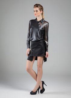 Camisa - Tule Lumiar Metallic  /// Saia - Indicolor® Coating Metalic 7,3 oz  e Indileather® Touch 10 oz  #couro #tule #camisa #chique