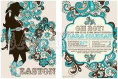 Turquoise Western Baby Shower Invitation