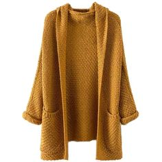 Milumia Women's Pockets Chunky Knit Open Front Cardigan Sweater Coat ($18) ❤ liked on Polyvore featuring tops, cardigans, pocket cardigan, brown cardi, pocket tops, open cardigan and thick knit cardigan
