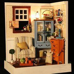 DIY Cabin Assembled Wooden Flower House Miniature Room Kit with LED String Light