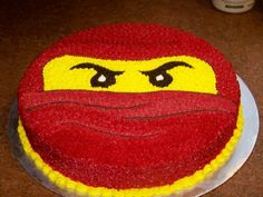 "Red Ninjago 12"" round devil's food cake buttercream icing"