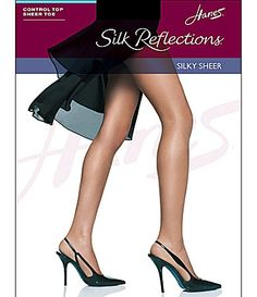 Hanes Silk Reflections Sheer Control Top Sandalfoot Pantyhose #Dillards