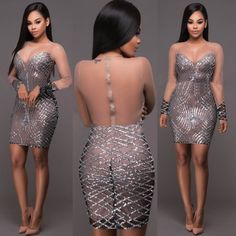 Cheap women sequin dress, Buy Quality bandage dress directly from China club dress Suppliers: ZJFZML See Through Women Sequin Dresses Backless Vestidos Silver Bandage Dresses Bodycon Sexy Mini Party Night Club Dress Femme Unique Dresses, Sexy Dresses, Short Dresses, Prom Dresses, Bandage Dresses, Nude Dress, Sequin Dress, Bodycon Dress, Short Mini Dress