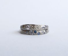 18ct white gold diamond and sapphire rings. Australian and Ceylon sapphires. White and Champagne diamonds. Contact info@ahhness.com for details.  Natalia Milosz-Piekarska. Melbourne.