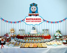 Printable Backdrop - Thomas And Friends Party Collection intended for Thomas And Friends Party Decorations Thomas Birthday Parties, Thomas The Train Birthday Party, Trains Birthday Party, Train Party, Baby Birthday Themes, Happy 2nd Birthday, Birthday Party Decorations, Zug Party, Birthday Backdrop