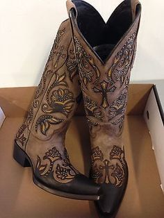 Brand-new-BROWN-w-cross-inlays-womens-ladies-cowboy-boots-sale-pricing