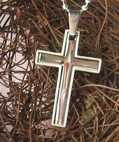 Stainless Steel Silver Double Cross Pendant / by FancyAngel, $18.00