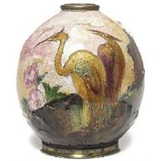Camille Fauré enameled vase over copper for Limoges, round form with two cranes, flowers
