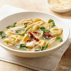 A white sauce mix and dried tortellini make this satisfying soup recipe extra easy; stirring in the spinach at the last minute gives it fresh-from-the garden flavor.