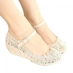 Casual Women's Wedge Shoes With Openwork and Solid Color Design