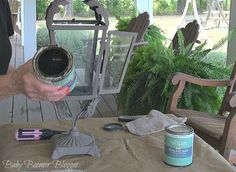 Baby Boomer Blogger - re-purpose old metal lanterns with chalk paint.