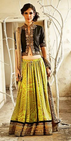 Don't like the blouse but, the lehenga in striking green looks very nice with the black India Fashion, Ethnic Fashion, Asian Fashion, Look Fashion, Indian Attire, Indian Wear, Indian Dresses, Indian Outfits, Indian Skirt