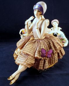 Antique Vintage Porcelain Pincushion Germany Half Doll Flapper Fasold Stauch BOX