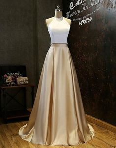 two pieces cheap long prom dress, evening dress,PD2020  #fashion #shopping #promdresses #prom #dress