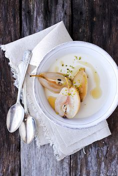 poached forelle pears with maple + homemade yogurt panna cotta