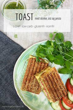 LCHF toast med skinke, ost og pesto. Glutenfri og kornfri. Ingen mavepine. Nem…