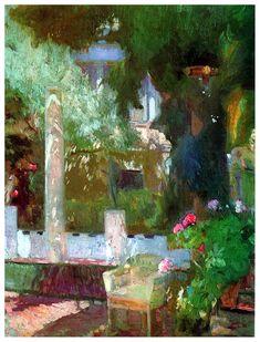 Joaquin Sorolla y Bastida - Jardín de la casa de Sorolla (1920)  ArtExperienceNYC  www.artexperiencenyc.com