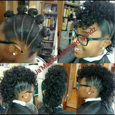 6 buns w/ a rodded ponytail added. Ponytail haircuts are back. Check out how to quickly make them at unique-hairstyle. Natural Hair Updo, Natural Hair Care, Natural Hair Styles, Natural Hair Mohawk, Braids For Kids, Girls Braids, Twisted Hair, Pelo Afro, Little Girl Hairstyles