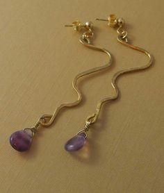 Free Form Amethyst Drop Earrings by BeadafulDesignsbyDL on Etsy, $20.00