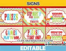 Carnival Party Signs, Circus Birthday Decor – INSTANT DOWNLOAD