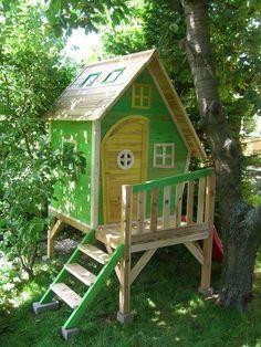 Kinderspielhaus Stelzenhaus aus Holz mit Rutsche: Amazon.de: Garten