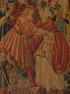The Return of the Prodigal Son, Tournai, c 1520, wool and silk tapestry, Musee du Moyen Age, Paris. Detail: underdress, thigh-high boots, fur lining, all good things!