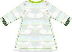 Materialien:   * Baumwolljersey  De Melkbrigade - Summer Swans Jersey  (Breite: 155cm) ( Kleid )   30cm ( Größe  56 )   40cm ( G...