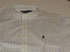 Mens Polo Ralph Lauren 16 1/2 35/35 Yarmouth long sleeve Shirt white plaid NEW #PoloRalphLauren #ButtonFront