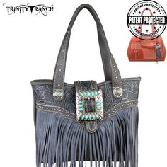 Montana West Trinity Ranch Concealed Handgun Genuine Leather Fringe Design Handbag (TR30G-8014)