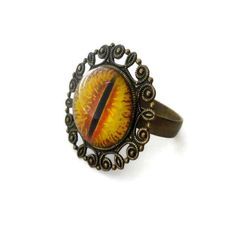 Eye Ring with Glass Eye of Sauron Neo Victorian by pink80sgirl