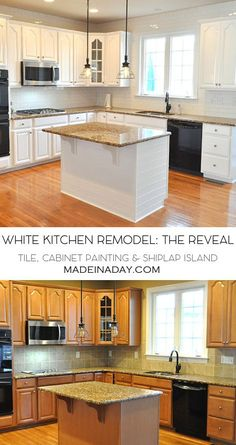 White Kitchen Remodel: The Big Reveal,White painted kitchen cabinets, subway tile & shiplap island makeover! yellow granite, white kitchen via @madeinaday