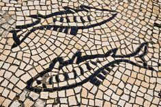 Portuguese sidewalk, Lisbon, Portugal