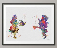 Alice in Wonderland and Mad Hatter Watercolor Print Archival Fine Art Print Children's Wall Art  Home Decor Wall Hanging No 99 on Etsy, $15.00