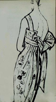 1958 Carven Vintage Glam, Fashion Vintage, Vintage Outfits, Vintage Illustrations, Fashion Illustrations, Illustration Art, Fashion Drawings, Fashion Sketches, Fashion Prints